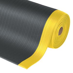 Airug ergonómiai munka- és futószőnyeg fekete, sárga biztonsági csíkkal