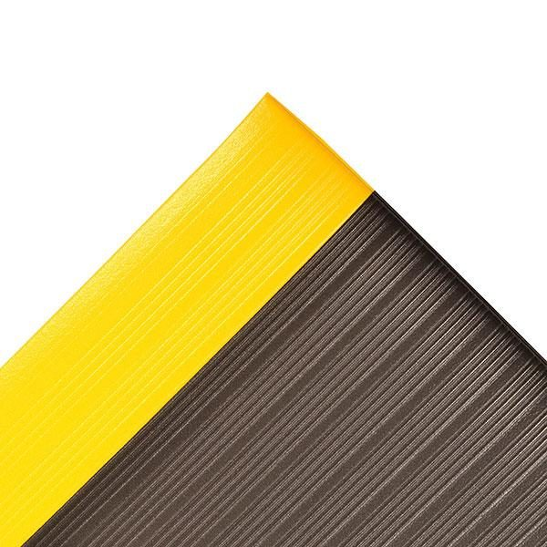 Airug ergonómiai munkaszőnyeg fekete, sárga biztonsági csikkal