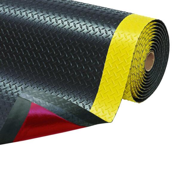 Cushion Trax ergonómiai futószőnyeg fekete, sárga biztonsági csíkkal